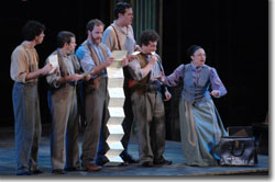 Left to Right: Broderick Ballantyne as Francis Flute, William C. Kovacsik as Robin Starveling, Stephen Weitz as Nick Bottom, Jesse Ryan Harward as Tom Snout, Seth Maisel as Snug, Maria-Christina Oliveras as Petra Quince