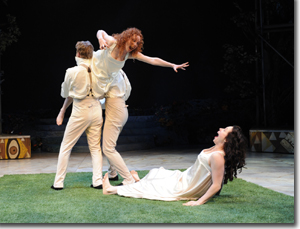 (Left to right) Leigh Miller as Lysander, Caitlin Wise as Hermia, Drew Cortese as Demetrius, and Allison Pistorius as Helena