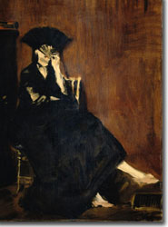 Portrait of Berthe Morisot, playfully hiding behind a fan, by Edouard Manet