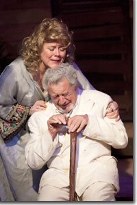 Paige L. Larson as Hannah Jelkes and Roger I. Simon as Nonno