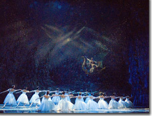 Snowflakes and the carriage of Clara and the Nutcracker Prince