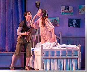 Kevin Gaël Thomas as Peter Pan<br>and Morgan Buchanan as Wendy Darling