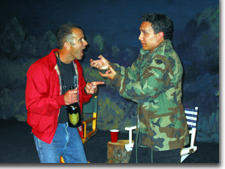 Robert (John Lodico) and Jeff (Kent Randell) argue over the finer points of filmmaking.