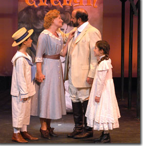 (Left to right) Tanner Gardner as Little Boy, Megan Van de Hey as Mother, Wayne Kennedy as Tateh and Damiana Bruenger as Little Girl