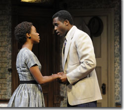 Dawn Scott as Beneatha Younger and Sheldon Woodley as Joseph Asagai