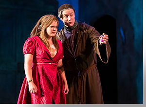 Madison Hart as Juliet and Gareth Saxe as Friar Laurence