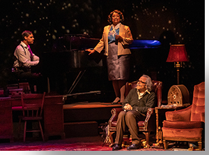 Andrew Fischer, pianist, Mary Louise Lee as Marian Anderson, and Jordan Leigh as Albert Einstein