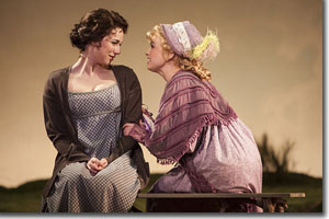 (Left to right) Stephanie Rothenberg as Elinor and Stacie Bono as Miss Lucy Steele