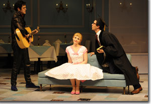 John-Michael Marrs as Hortensio, Christy McIntosh as Bianca and Drew Cortese as Lucentio
