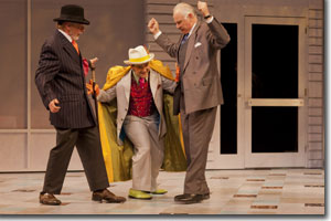 Philip Pleasants as Sugarsop, Matt Zambrano as Tranio, and Robert Sicular as Baptista Minola