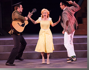 (Left to right) Casey Andree as Hortensio, Rachel Turner as Bianca, and Christopher Joel Onken as Lucentio