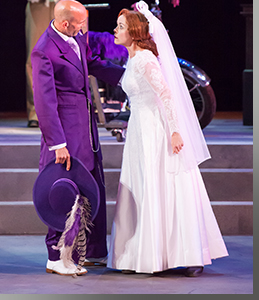 Scott Coopwood as Petruchio and Shelly Gaza as Katherina