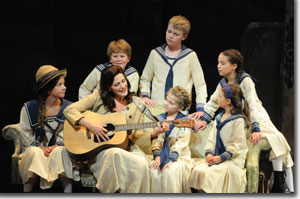 Front Row, Left to right: Margaret Pilkinton (Louisa), Katherine Manley (Maria Rainer), Lucy Crile (Gretl), Kaylee Rooks (Marta); Back Row, Left to right: Cooper Causey (Kurt), Grant Bradow (Freidrich), Grace Pouliot (Brigitta)
