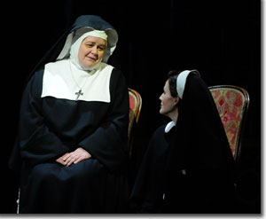 Maria Zifchak as the Mother Abbess and Katherine Manley as maria Rainer