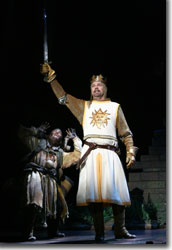 (Left to right) Jeff Dumas as Patsy and Michael Siberry as King Arthur