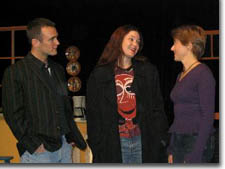 Photo of (L to R) Scott McLean (George), Elgin Kelley (Sara), and Hilary Blair (Callie)