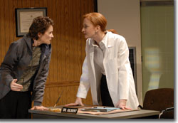 Kathleen McCall as Dana and Megan Byrne as Dr. Gilbert
