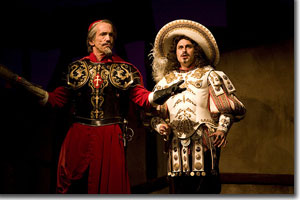 (Left to right) John Hutton as Cardinal Richelieu and Charles Pasternak as King Louis