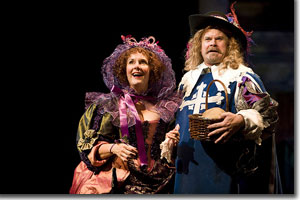 Jeanne Paulsen as Mme. de Cocquenard and Mike Ryan as Porthos