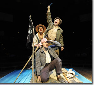 (Back to front) Blake Lowell as Huckleberry Finn, Nick Abeel as Joe Harper, and Stanton Nash as Tom Sawyer