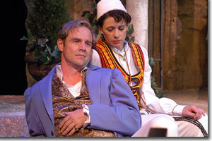 Geoffrey Kent as Orsino and Kate Berry as Viola disguised as Cesario