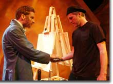 Photo of Brett Aune as Vincent van Gogh and Chris Reid as Patrick Stone