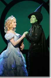 Photo of Kendra Kassebaum as Glinda and Stephanie J. Block as Elphaba