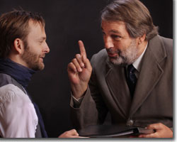 (Left to right) Andrew Horwitz as the Actor and Larry Hecht as Arthur Kipps